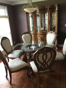 "Dining Room Furniture - Glass And Wooden Table, 60"" X 30"", Six Upholstered Chairs, Hutch, 84"" X 19"" X 72"" With Lights And Touch Activation On Hinges"