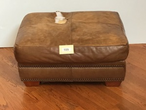 Brown Leather Ottoman With Nailhead Trim, Damaged Top