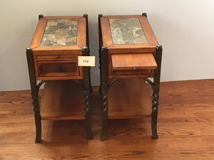 "Two Matching Wooden And Faux Stone Inlay Side Tables With Pull Out Shelf And Drawer, 13"" X 23"" X 26"""