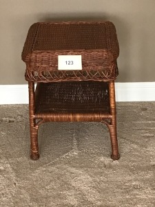 "Square Wicker Table, 16"" X 16"" X 22"""