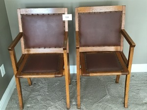 Vintage Wooden Chairs (2), Leather Seat And Back With Nailhead Trim, Seats Raise Up