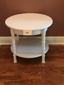 "Round Wooden Table With Shelf, 24"" X 21"""