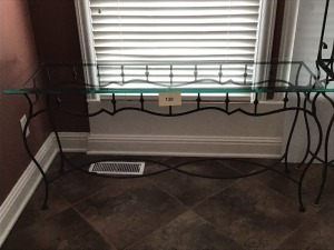 "Metal And Glass Sofa Table, 17"" X 27"" X  57"""