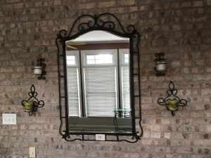 "Metal Framed Mirror, 33"" X 51"" And Four Metal Candle Sconces"
