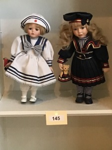 Two Porcelain Dolls Sailor Dressed