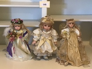 Two Porcelain Angel Dolls, And One Fancy Dressed