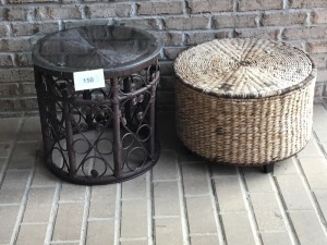 Two Small Wicker Tables, One With Glass Top, One With Storage