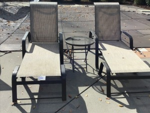 Two Swimming Pool Lounge Chairs And Round Side Table