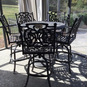 Pub Style Outdoor Metal Table And Five Stools