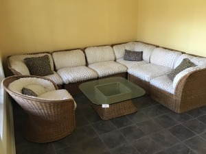 Very Nice Wicker Seating Ensemble With Table And Chair