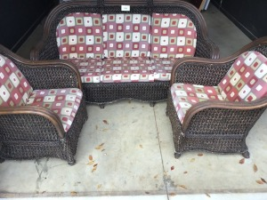 Rattan Seating Group With Cushions, Three Pieces