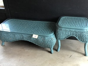 "Two Wicker Tables With Glass Tops, 48"" X 21"" X 16"", And 17"" X 24"" X 23"""