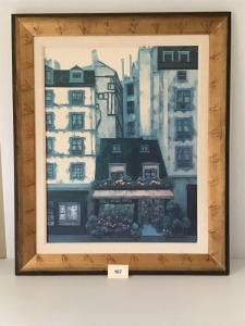 "Framed And  Matted Street Scene Print, No Glass, 47"" X 38"""