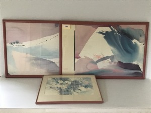 "Three Framed Watercolor Prints, Two 41"" X 27"", One 20"" X 24"""