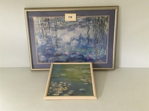 "Watercolor Prints Of Lilies, Claude Monet's Framed 15"" X 15"", Large Framed And Matted Lilies, 32"" X 23"""
