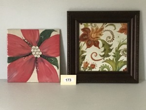 "Hand Painted Ceramic Tile With Jewels, 13"" X 13"", Watercolor Floral Framed Print With Jewels, 17"" X 17"""