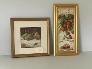 "Framed Fruit Prints, Pears 17""  X 17"", Cherry Pie 12"" X 24"""
