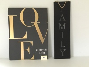 "Unframed 'Love Is All You Need'  On Canvas 24"" X 31.5"", Family Metal Cut Out, 10"" X 35"""