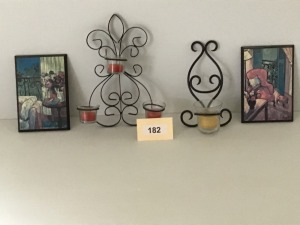 Metal Votive Candle Sconces(2), Two Small Artworks With Metal
