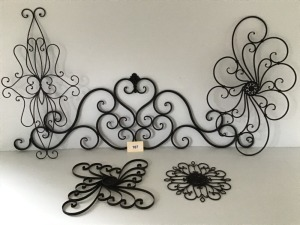 Five Piece Collection Of Metal Wall Art