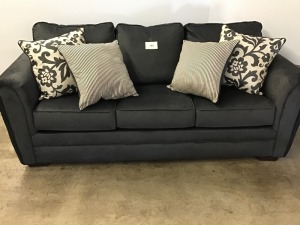 Very Nice Charcoal Gray Sofa With Four Accent Pillows