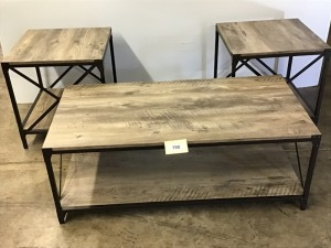 Faux Barn Wood And Metal Coffee Table And Two End Tables