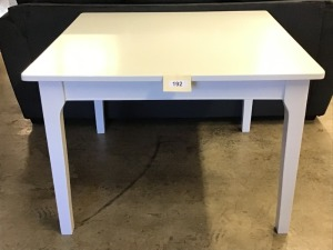 "Square White Wooden Table, 42"" X 42"" X 29"""