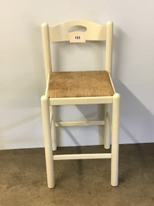 White Wooden Stool With Rush Seat