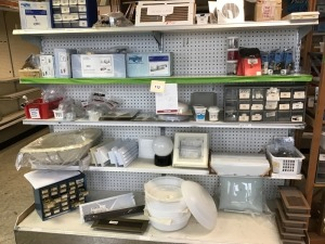 "Faucets, Faucet Parts, Floor Registers, Vents, Light Shades 12"", Misc Parts, With Shelving"