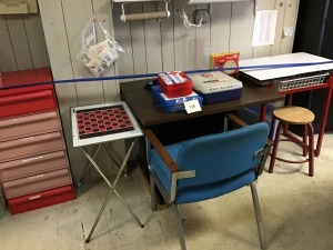 First Aid Kits, Tables (2), Chair, Stool