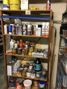 Patching Supplies, Spray Paint, Stains, and More, With Wooden Shelving