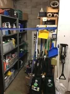 Large Assortment Of Cleaning Supplies: Three Dirt Devil Vacuums, Swivel Glides, Shop Vac, Small Dirt Devil, Trash Bags, Square Floor Tiles, Rubber Base Board