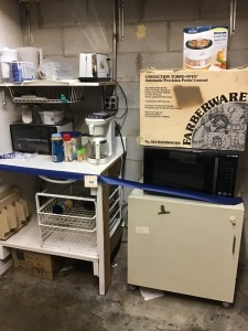 Kitchenette: Crock Pot, Convection Turbo Oven, Metal Storage Cabinet, Appliances, and More