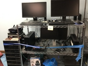 "Three Dell Monitors, Key Boards, Mouses, Panasonic VHS, Two AFC Back UPS, and More, HD Wire Shelving, 42"" X 24"" X 60"""