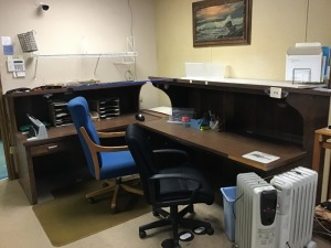 "Faux Wood Desk, 64"" X 45"" X 27"", Two Office Chairs, Faux Wood Desk, 74"" X 48"" X 30"""