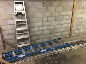 Two 6 Ft. Metal Step Ladders, One 9 Ft. Step Ladder, 15Ft. Aluminum Extension Ladder Expands to 28 Ft.